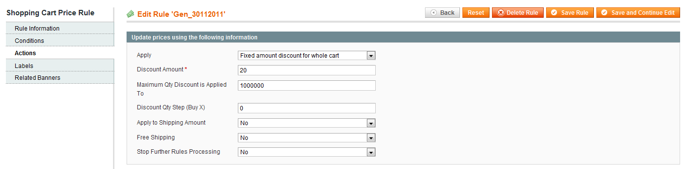 Magento Shopping Cart Price Rule Fixed Amount Discount on Wholecart